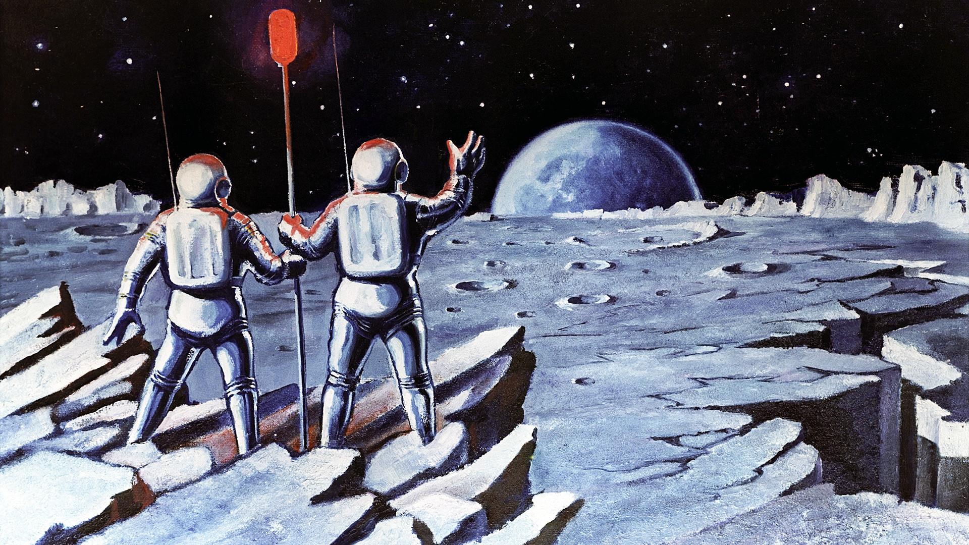 Umetniško delo Ljudje na Luni avtorja Alekseja Leonova, ZF umetnika in sovjetskega kozmonavta.