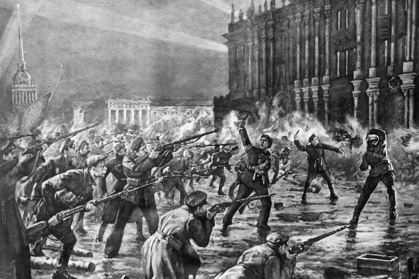 Червеногвардейци, войници и моряци атакуват Зимния дворец, който се охранява от жени-кадети и части от социално-революционното правителство на Керенски.