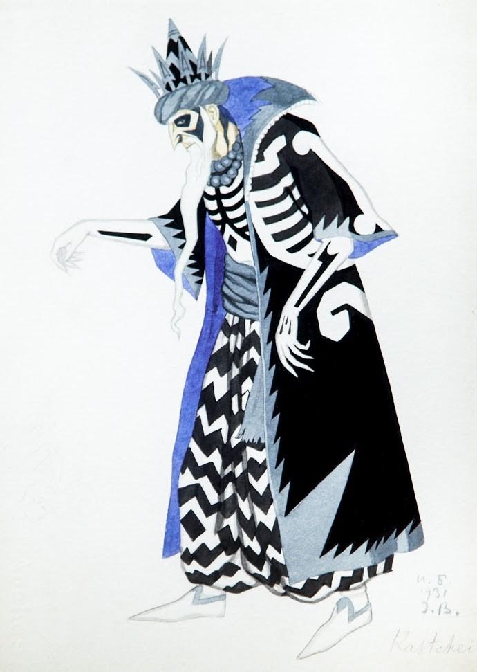 И. Я. Билибин. Ескиз на костюма на Кашчей за балета на И. Ф. Стравински