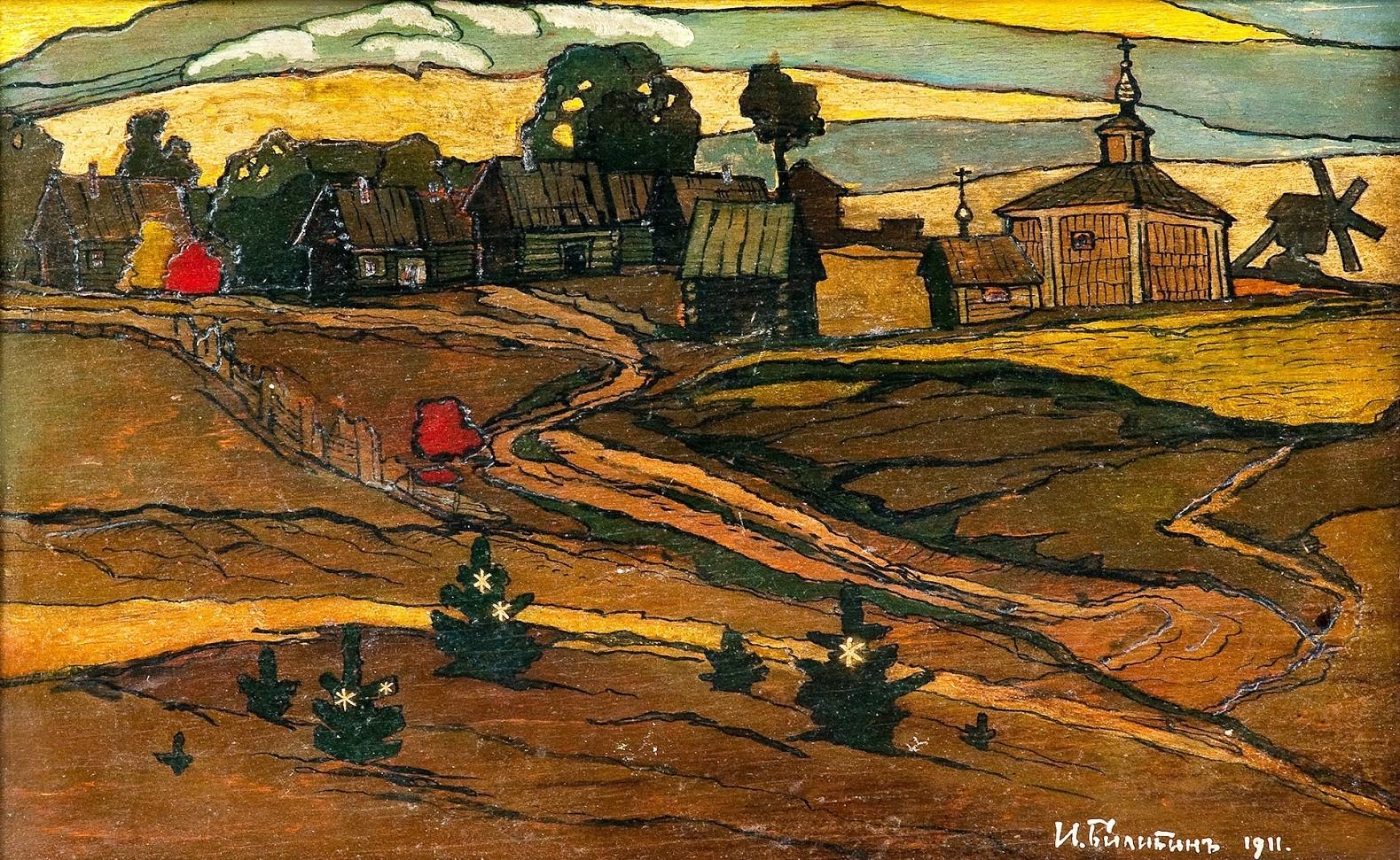 И. Я. Билибин, Селски пейзаж, масло върху дърво, 20,5x33 см.