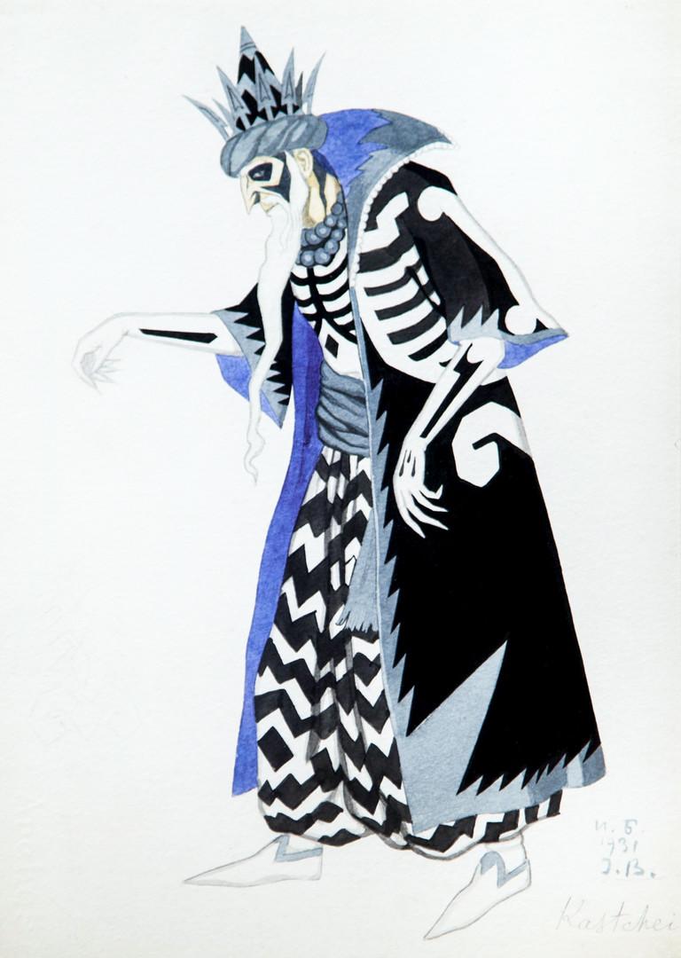 Ici, l'esquisse de Bilibine d'un personnage de conte de fées slave pour le ballet l'Oiseau de feu de Stravinsky.