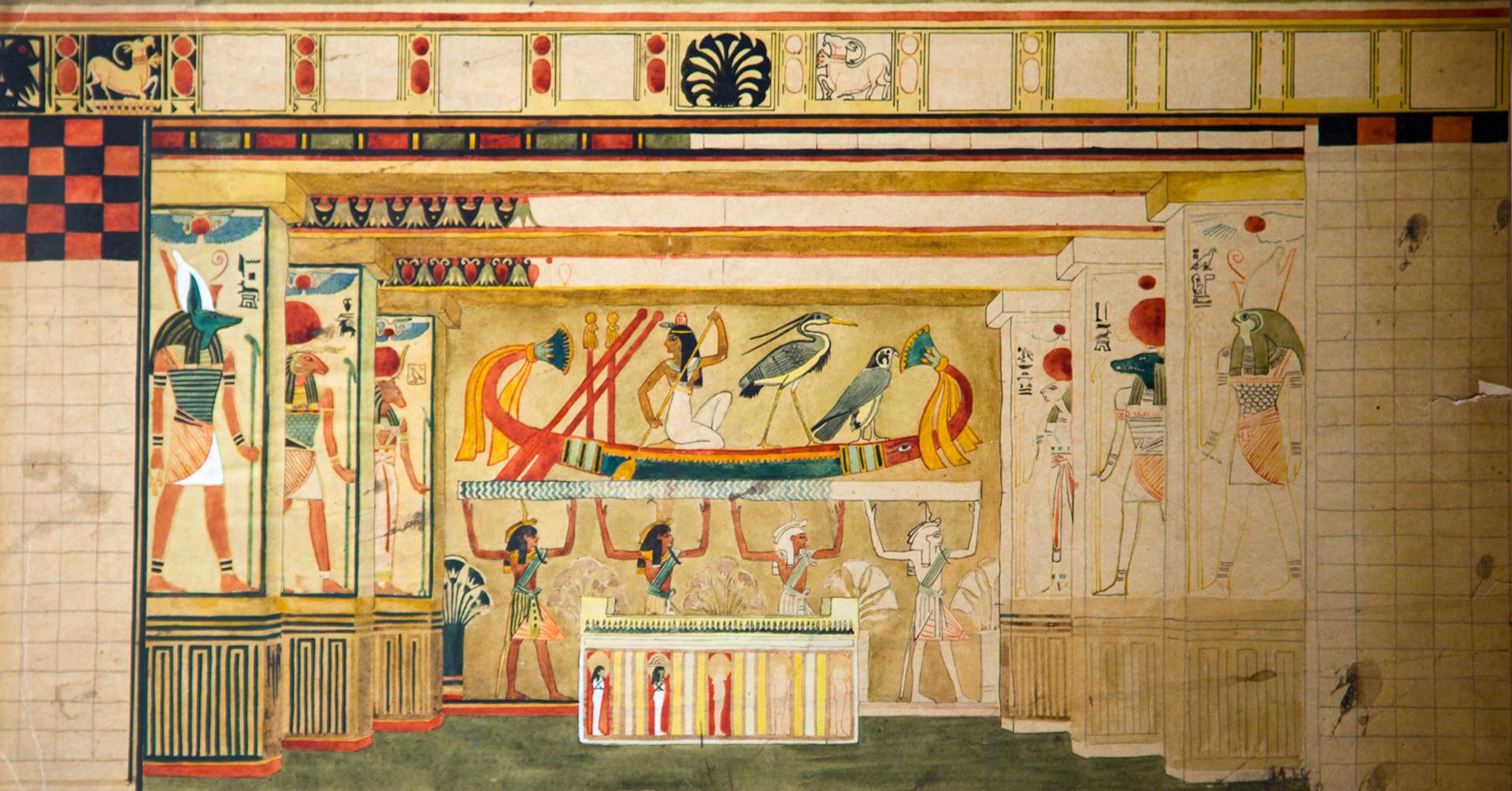 Les décorations de Bilibine pour le ballet de Tcherepnine Roman de la momie.