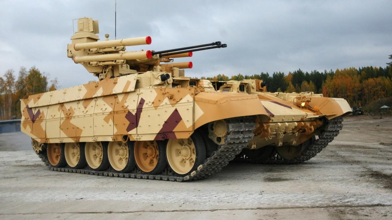 Kendaraan tempur pendukung tank Terminator pada Pameran Senjata, Peralatan Militer, dan Amunisi Keempat di Nizhny Tagil tahun 2013.