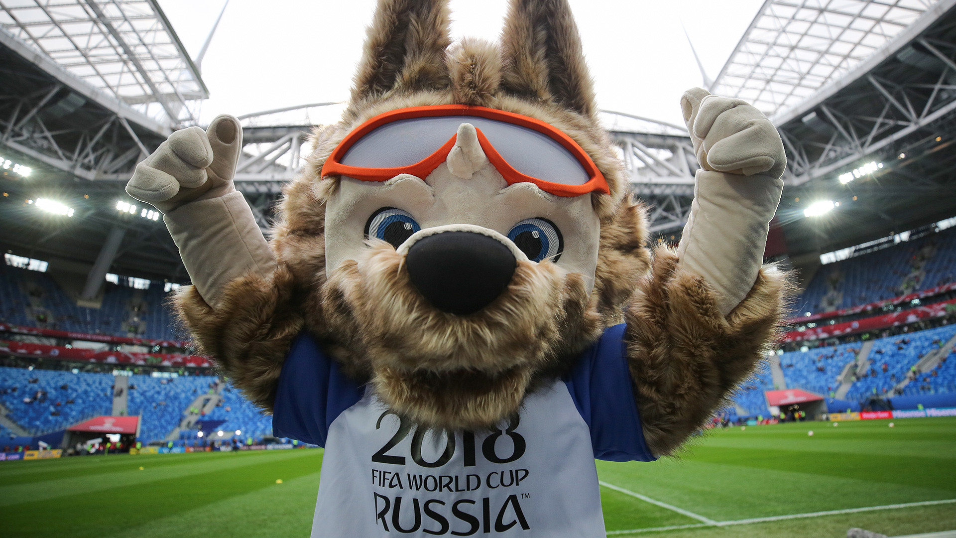 A person dressed as Zabivaka the Wolf, the 2018 FIFA World Cup official mascot.