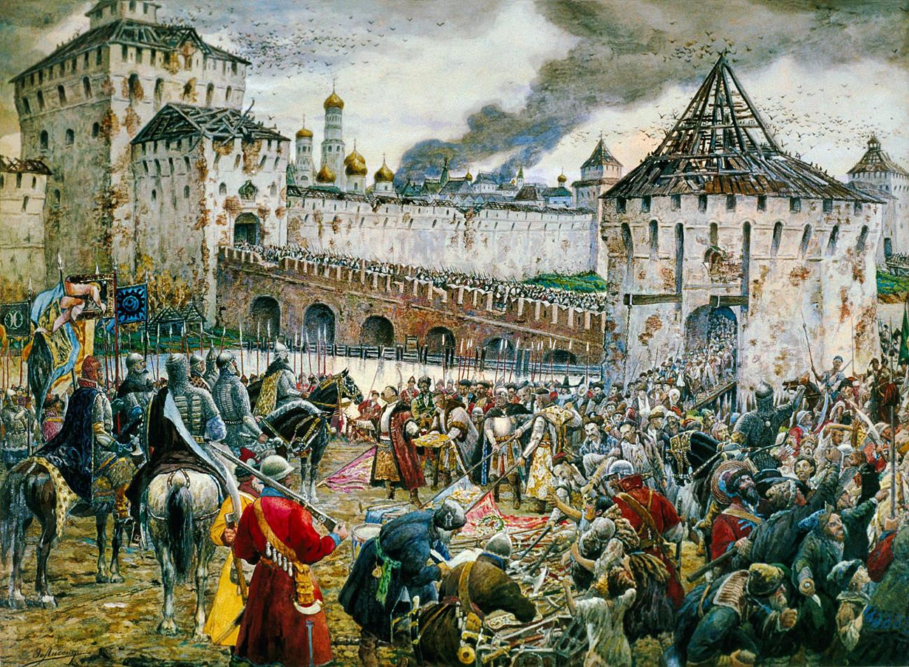 ポーランド兵はモスクワのクレムリンを退却している。1612年