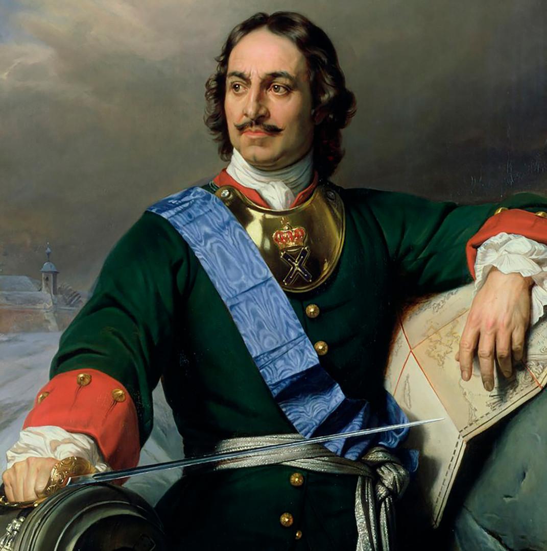 Pjotr I. Veliki. Portret francoskega slikarja Paula Delarocheja.