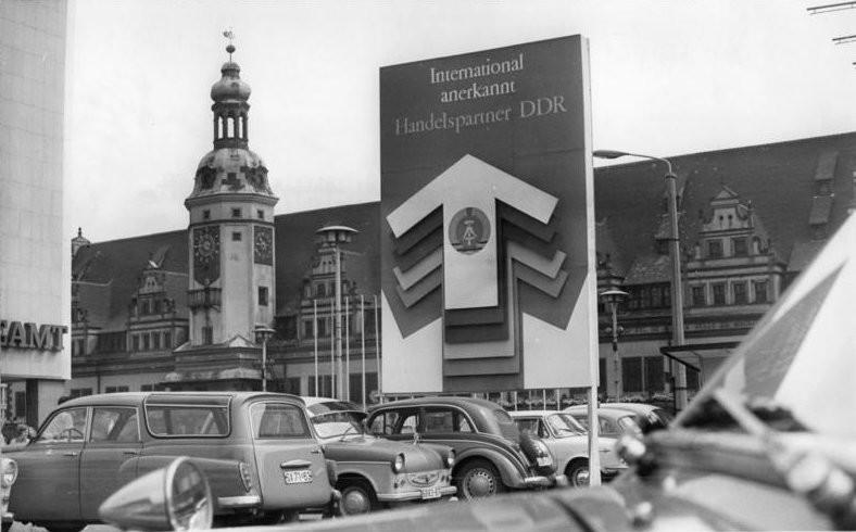 Propagandaplakat in Leipzig, 1970