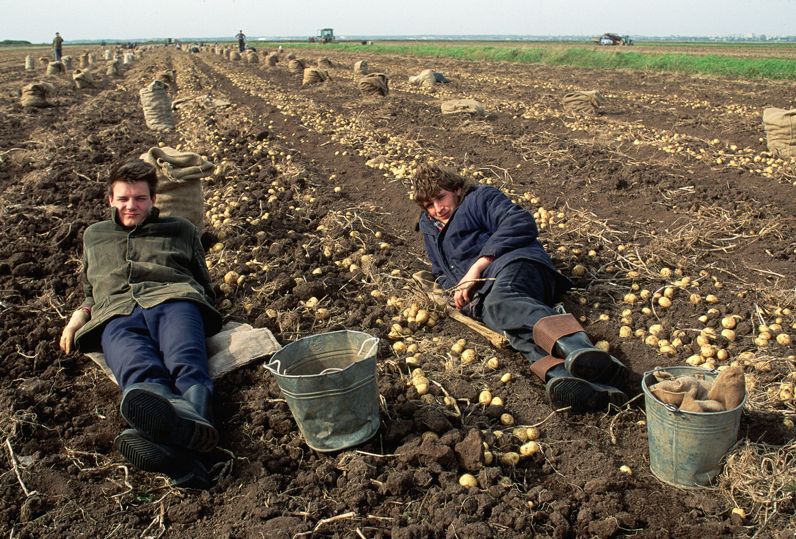Potato harvesters resting on a collective farm.