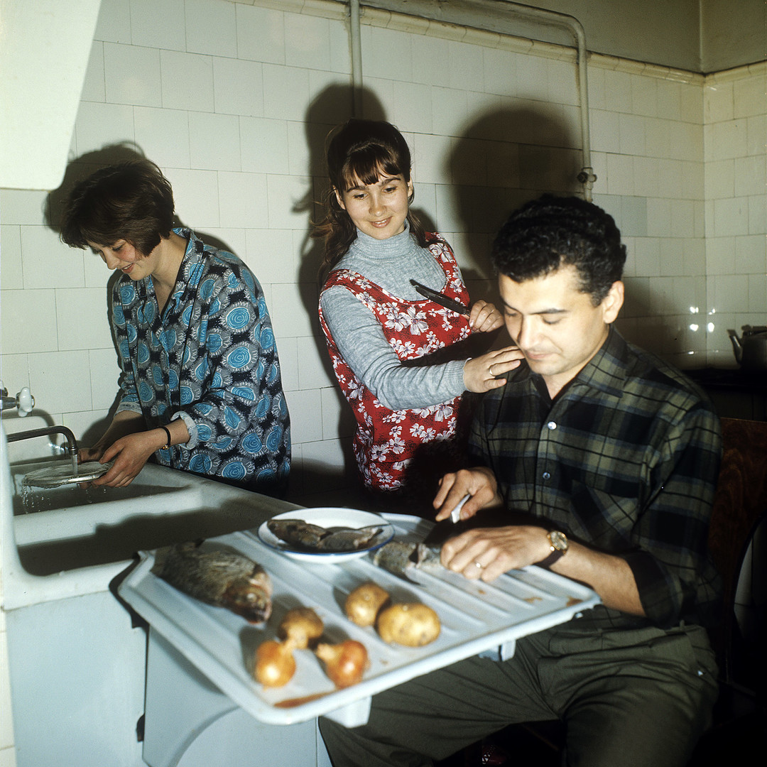 The kitchen at the student dormitory. Moscow State University.