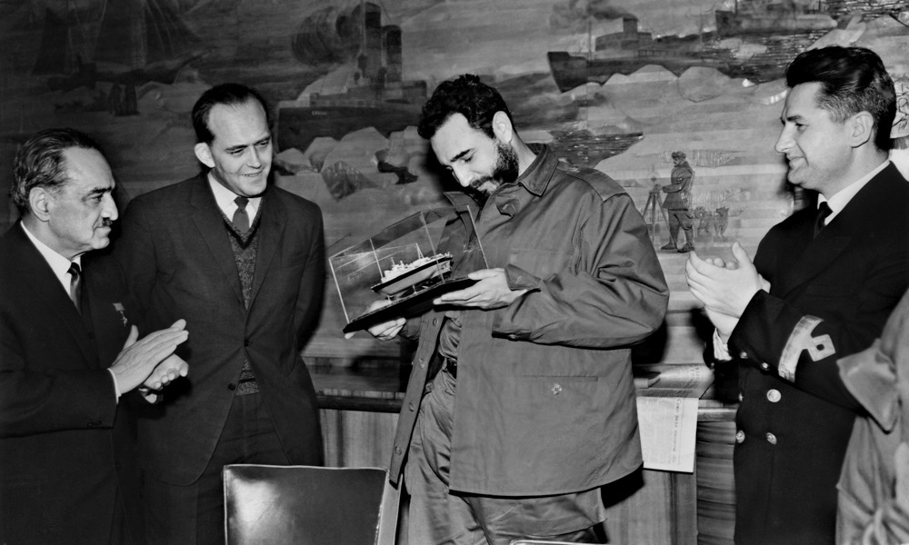 Фидел Кастро на ядрения ледоразбивач Ленин, 1963.