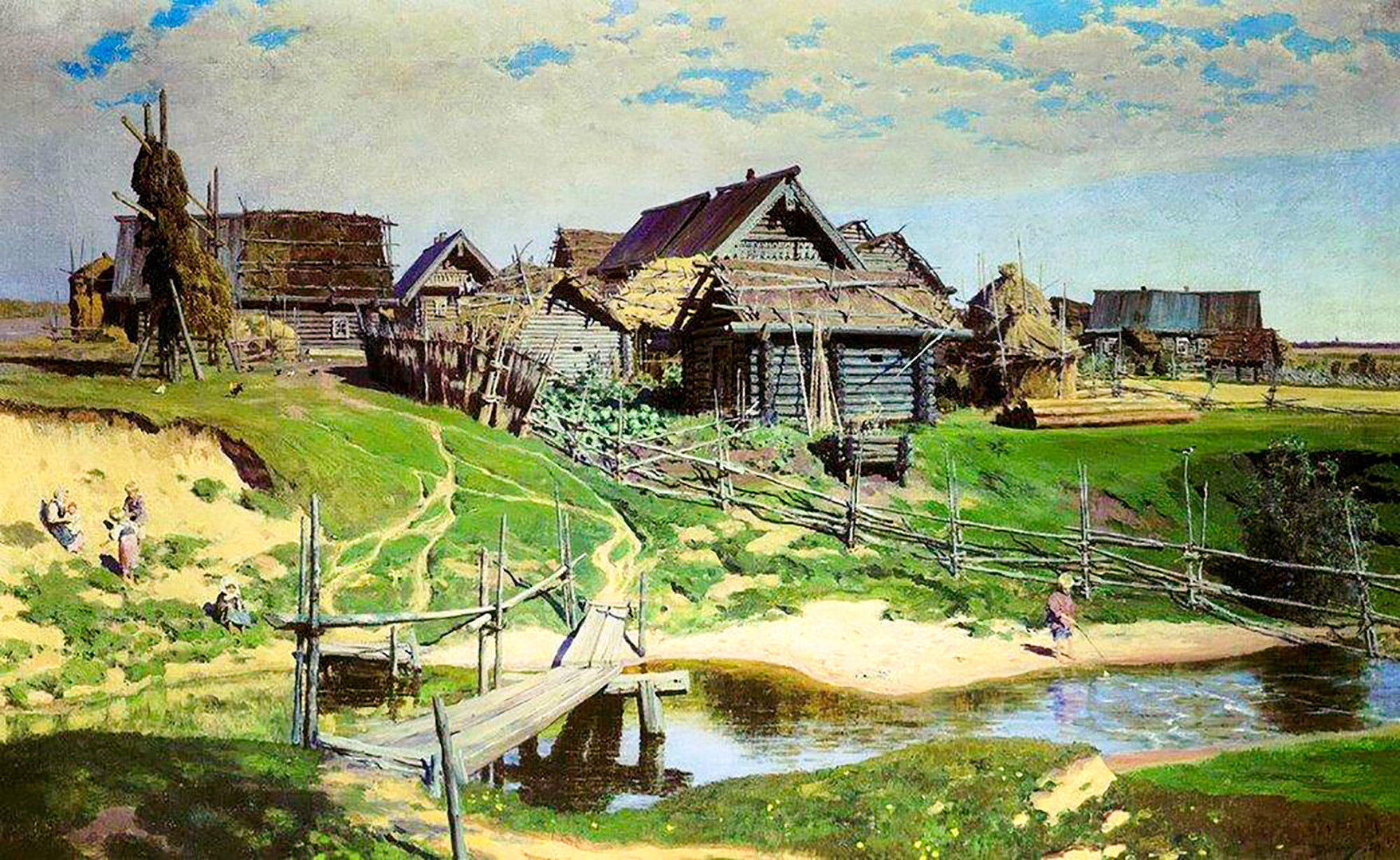 「ロシアの村」、ワシーリー・ポレーノフ画、1889年