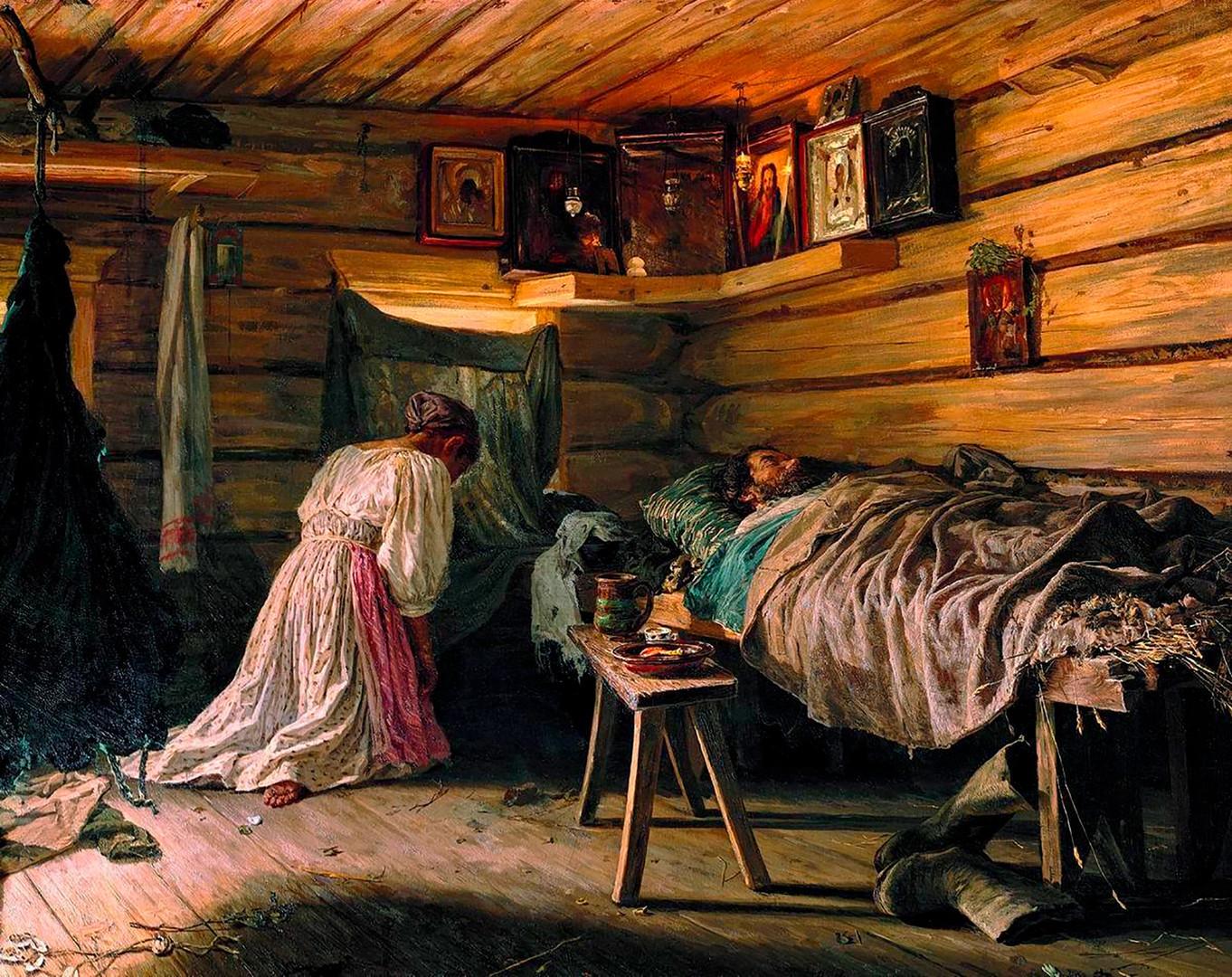 「病気の夫」、ワシーリー・マクシモフ画、1881年