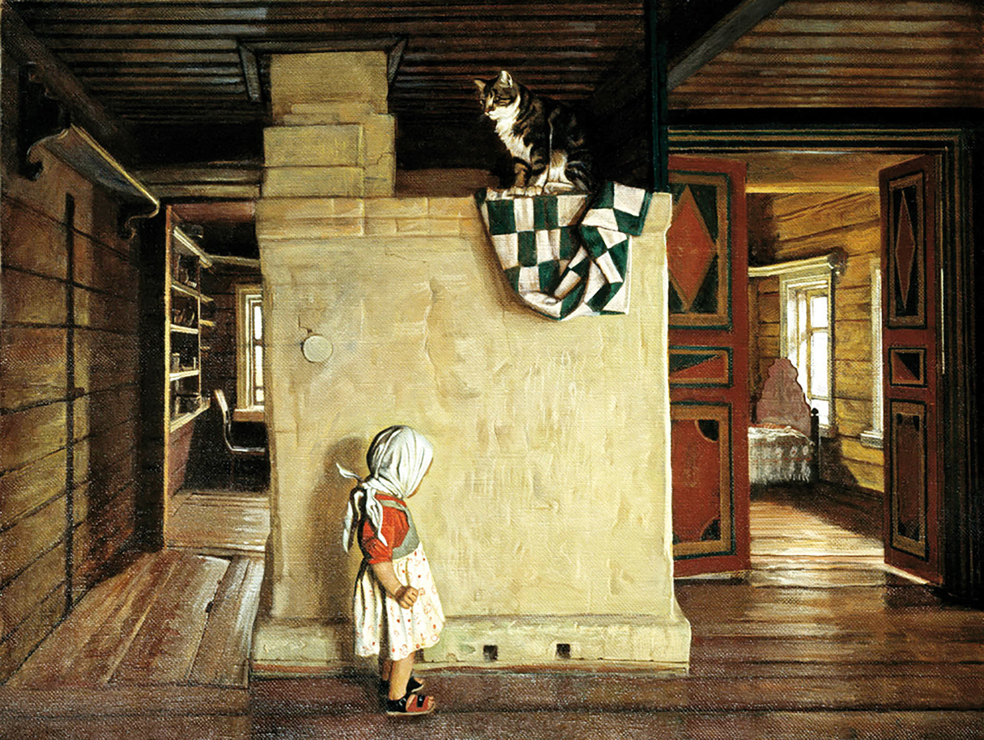 「ラキーティン家族の古い家」、ニコライ・アノーヒン画、1998年