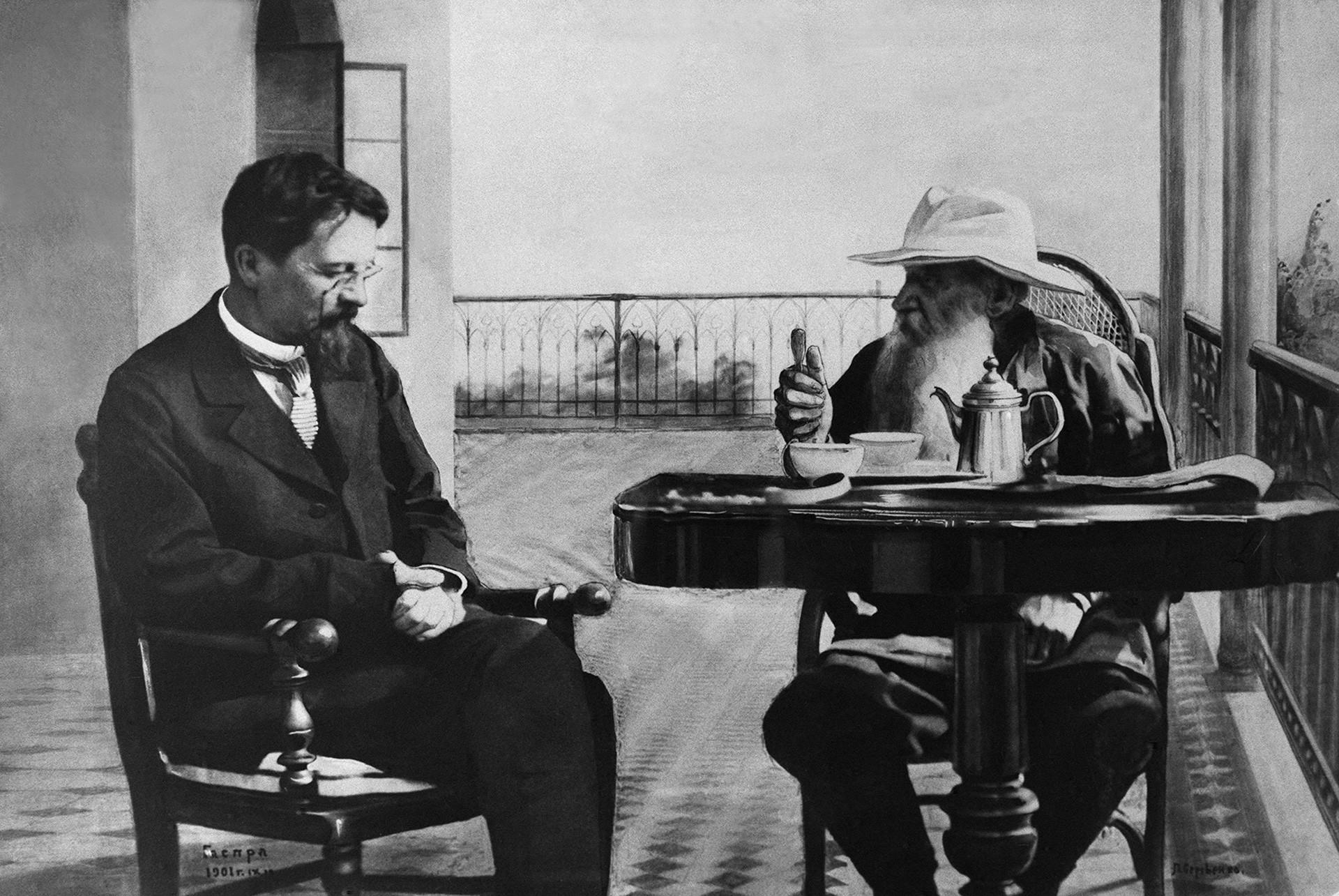Was geschieht, wenn zwei Genies an einer Taktik feilen? Hier spielen Tschechow und Lew Tolstoj auf der Krim Schach.