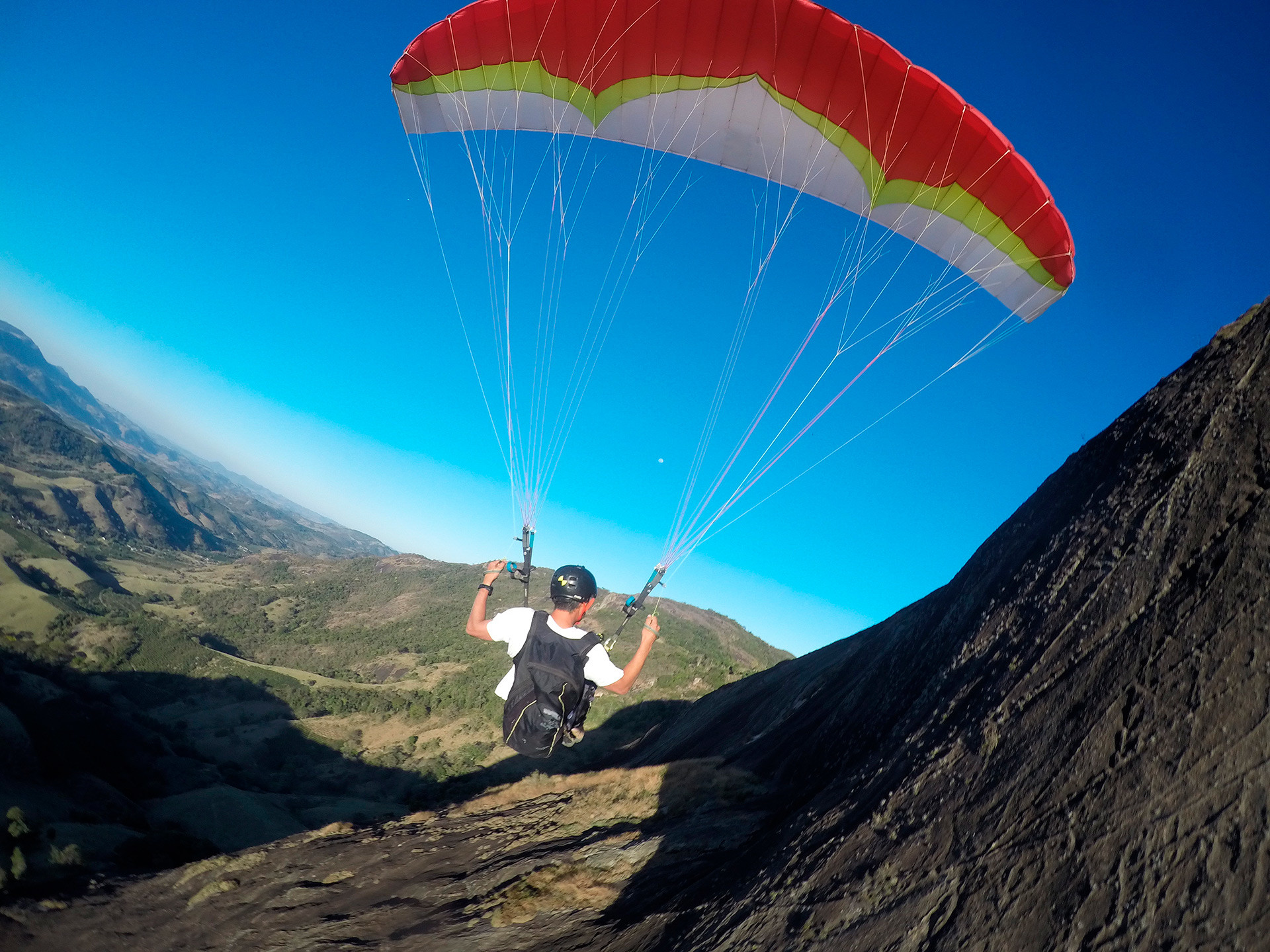Extreme paragliding.