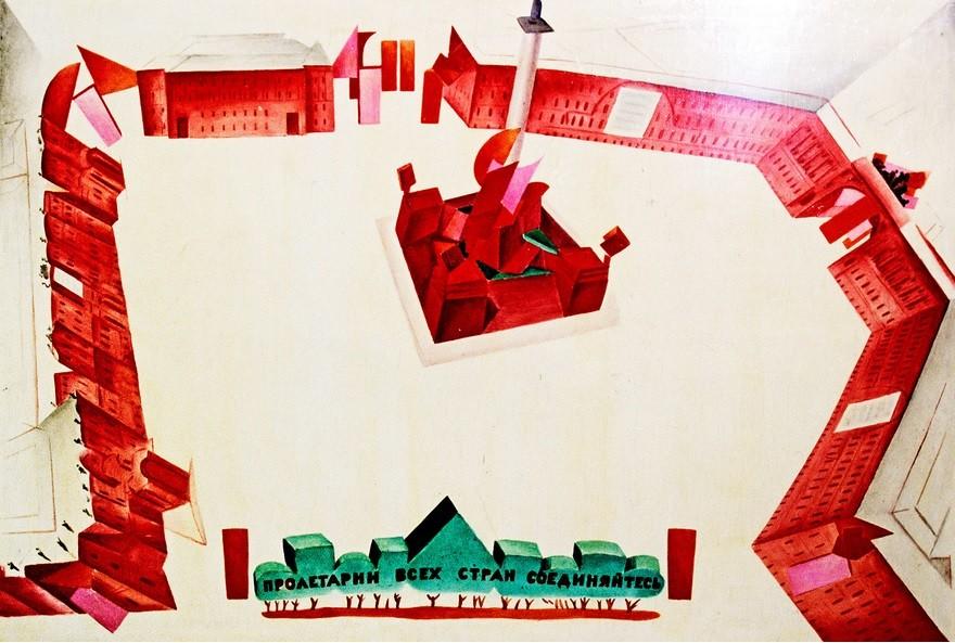 Skica dekoracije Dvornega trga avantgardnega slikarja Natana Altmana (1899-1970).