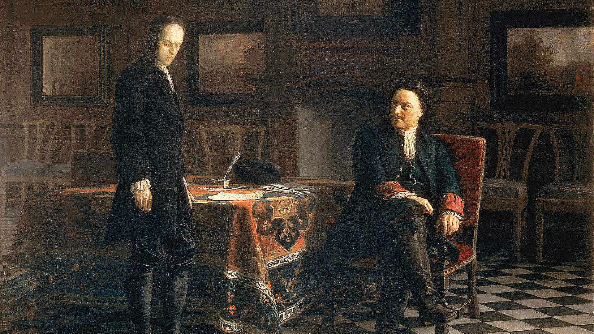 Peter I interrogating his son Alexei.
