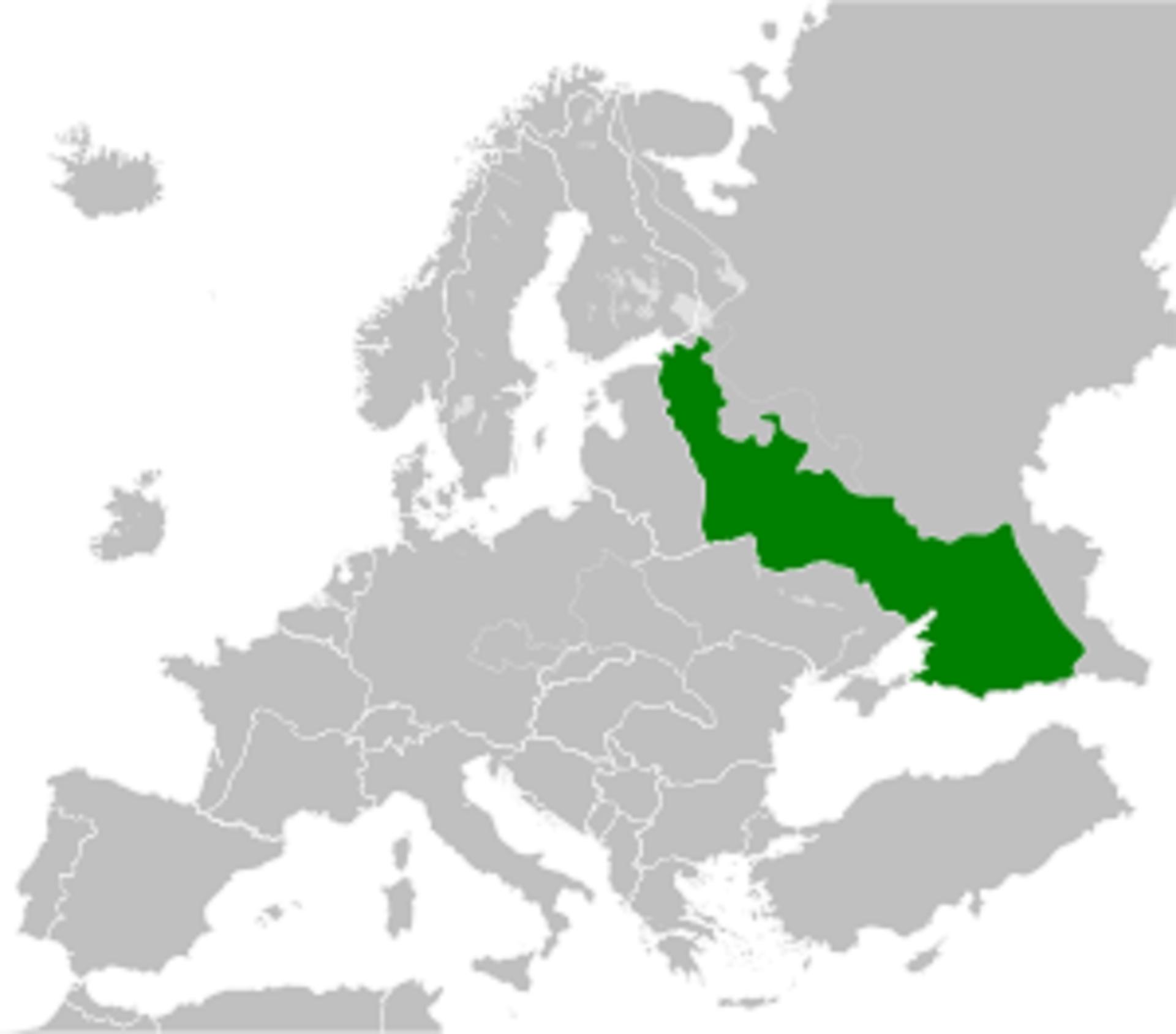 Карта, показваща териториите, които е трябвало да влязат в Московския райхскомисариат.
