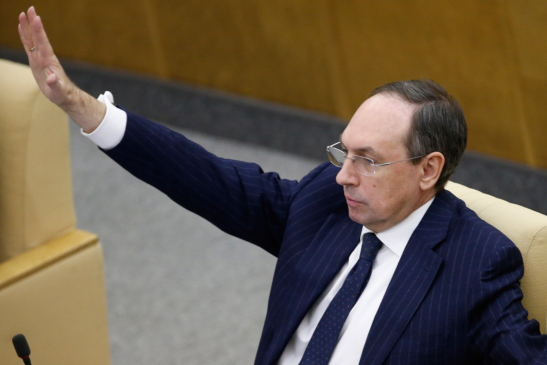 Vyacheslav Nikonov, Chairman of the Russian State Duma Committee on Education and Science, attends a State Duma plenary meeting.