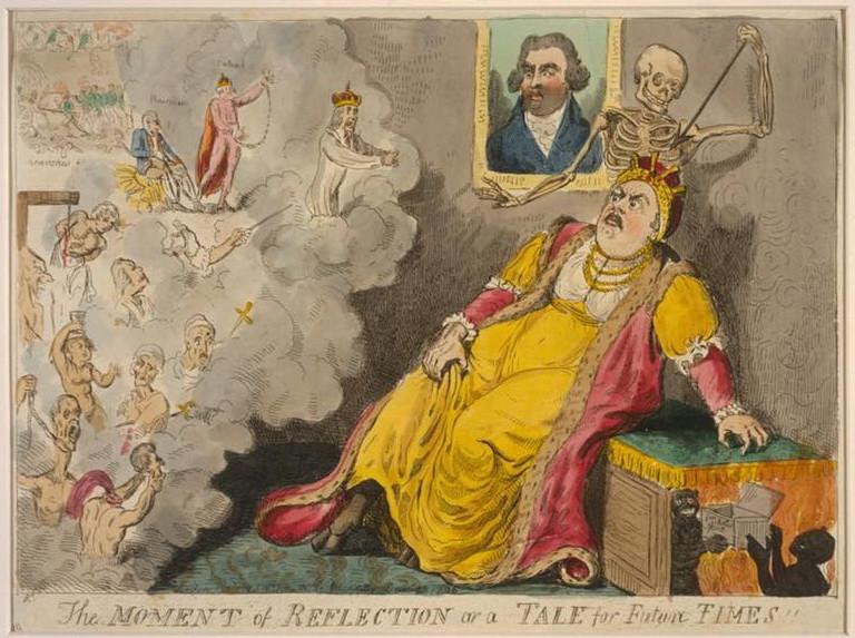 Zeitgenössische Karikatur, London, 1796: Der Moment der Reflexion oder das Märchen von der Zukunft