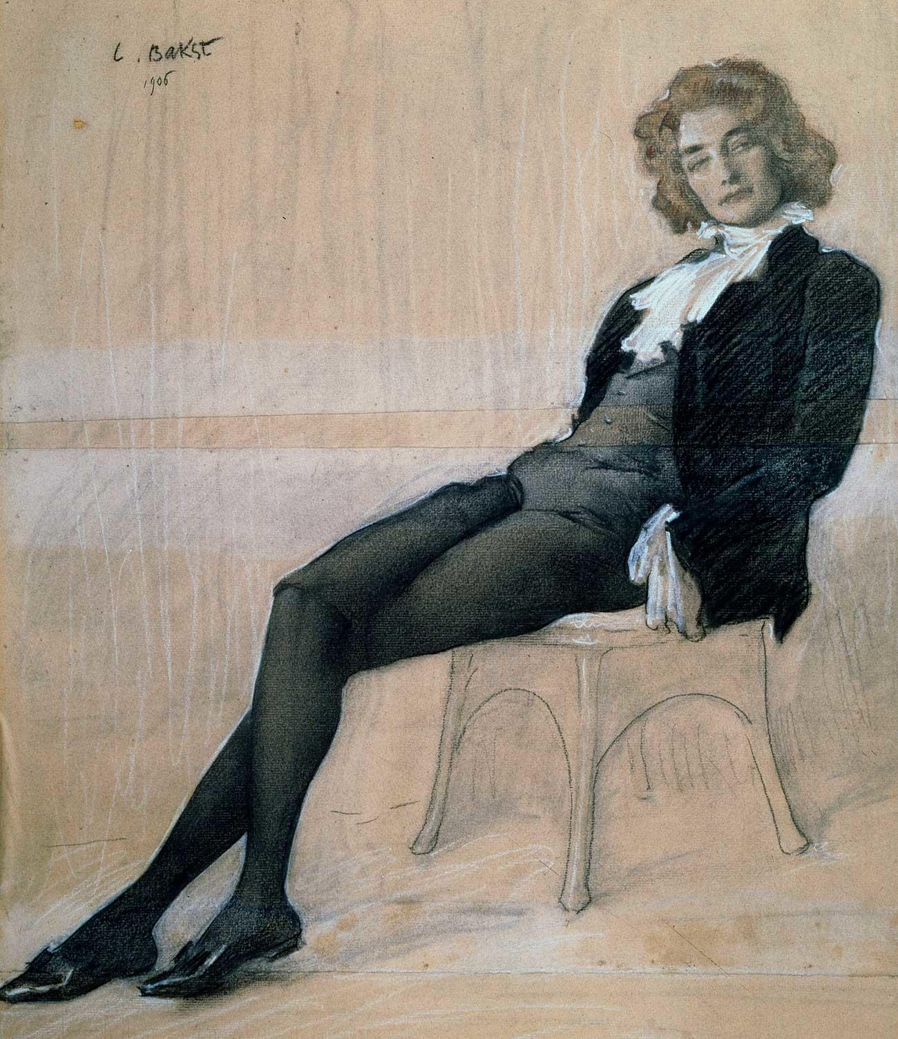 Zinaída Guíppius retratada por Leon Bakst. Com o marido Dmítri Merejkóvski, Guíppius foi uma das figuras mais influentes da cena literária petersburguense no primeiro quarto do século 20.