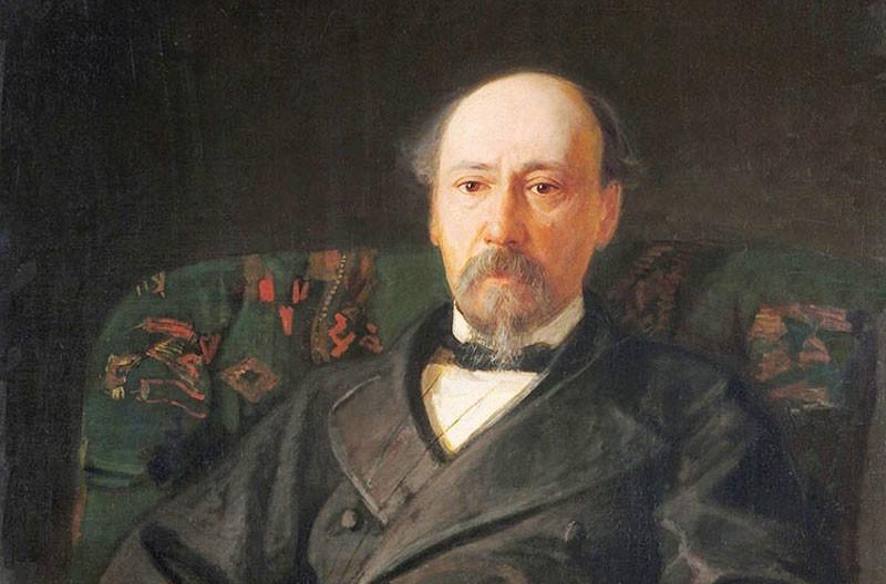 Nekrásov retratado por Nikolai Gue.