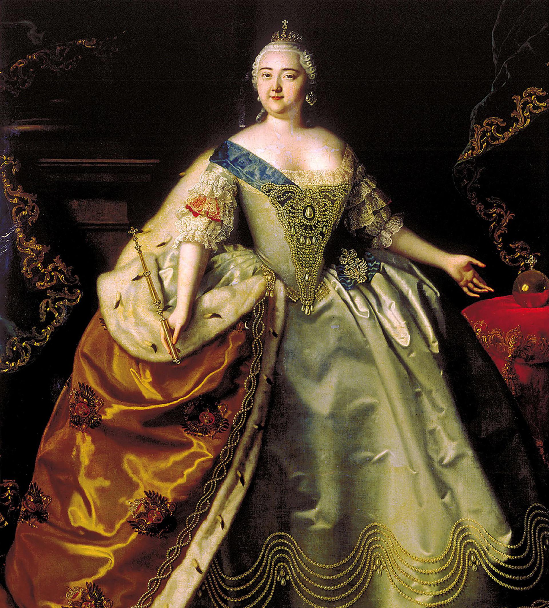 Retrato da imperatriz Isabel da Rússia por Louis Caravaque.