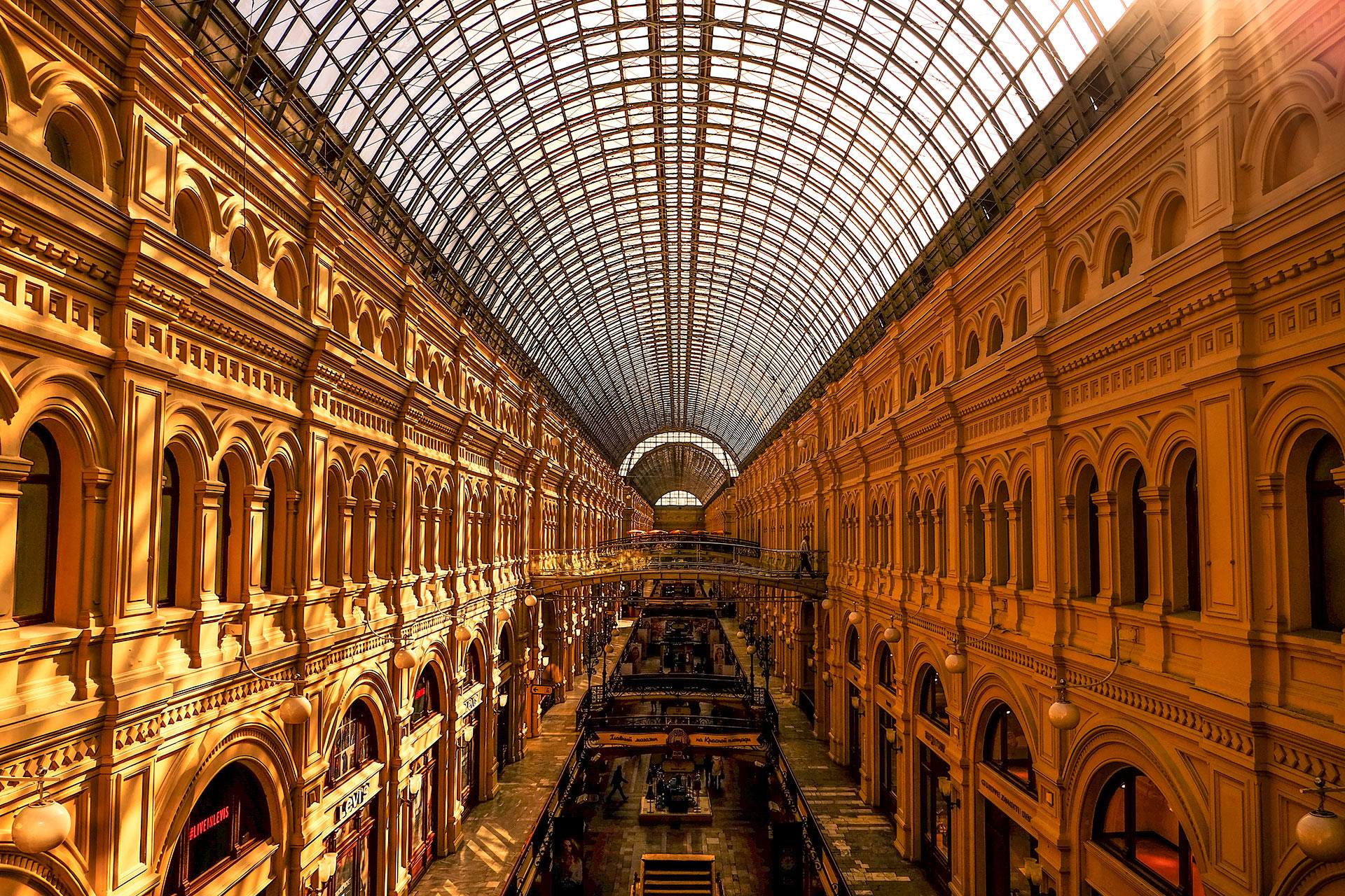 The roof of GUM, Russia's most beautiful shopping center