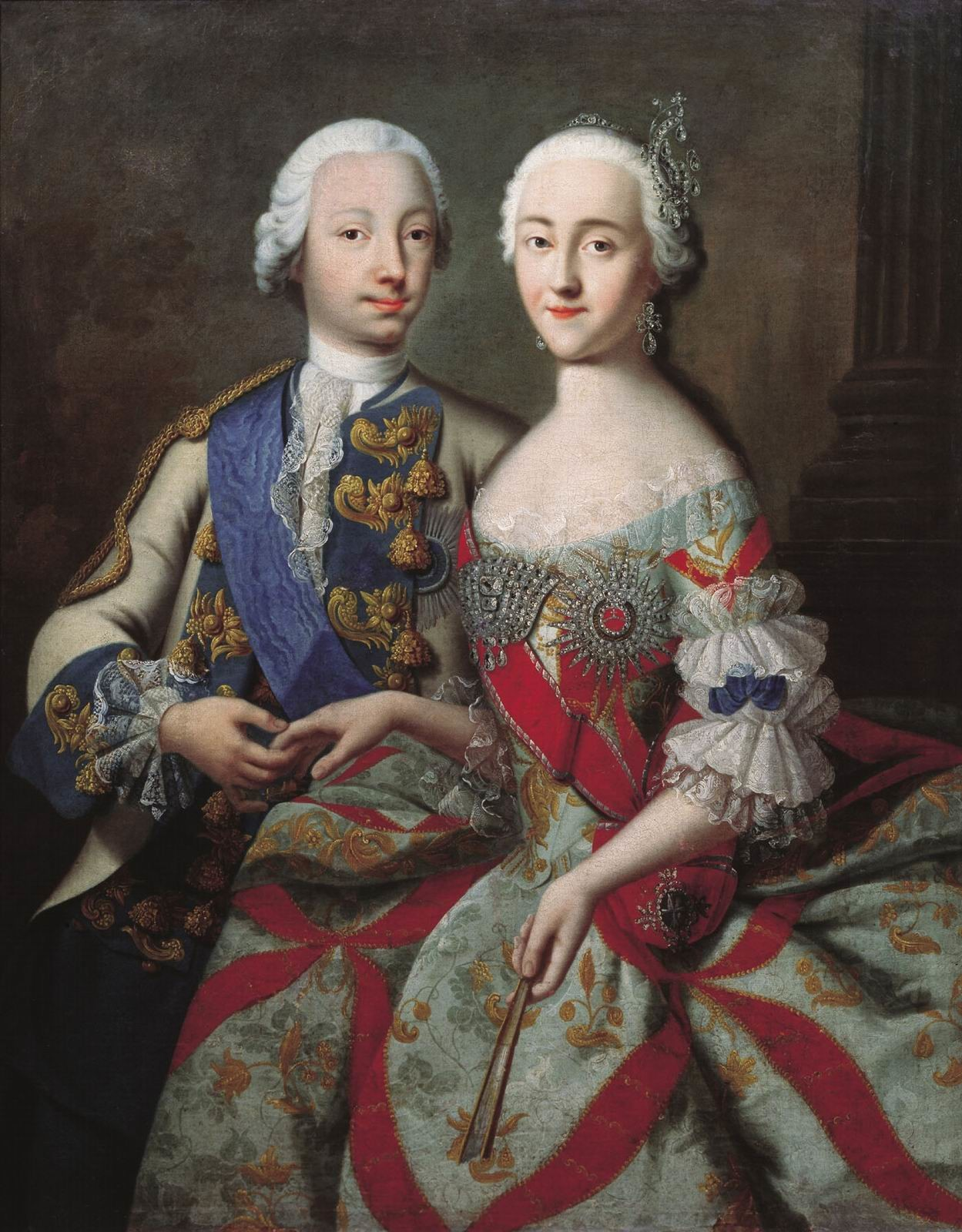 Catalina II con su marido Pedro III, obra de Georg Christoph Grooth (c. 1745).