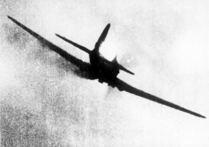 Imagen de un Il-2 tomada desde la foto-ametralladora de un avión enemigo.