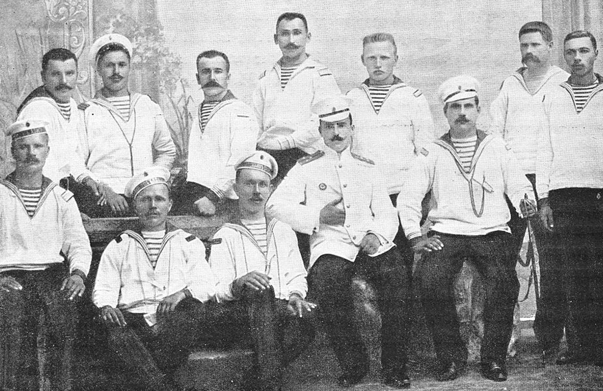Some of the crew of the battleship Potemkin. The lieutenant in the center of the group was one of the officers killed by the rebels.
