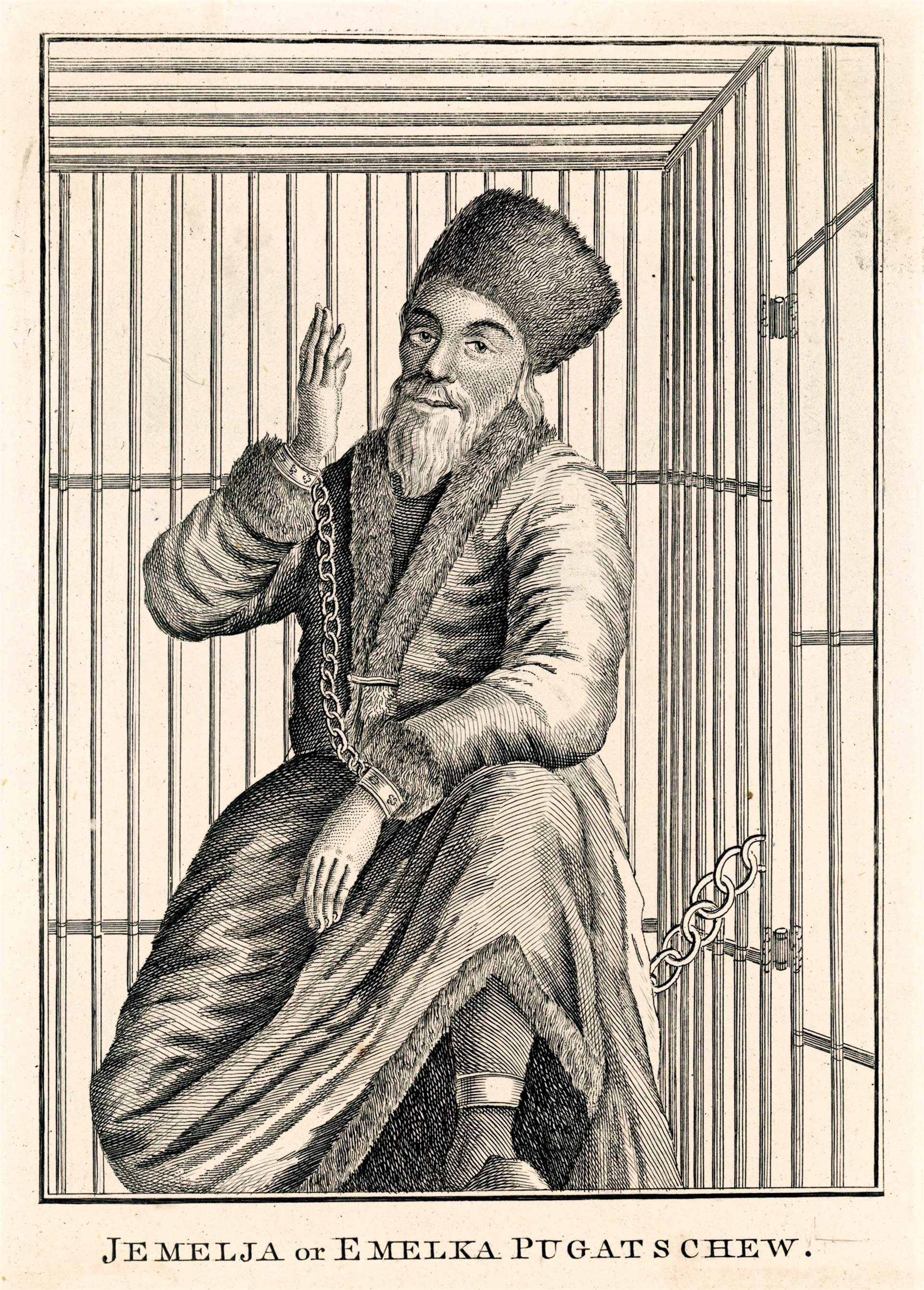 Pugachev was brought to Moscow in a wooden cage. Engraving by an unnamed artist in Caulfield's Wonderful Characters.