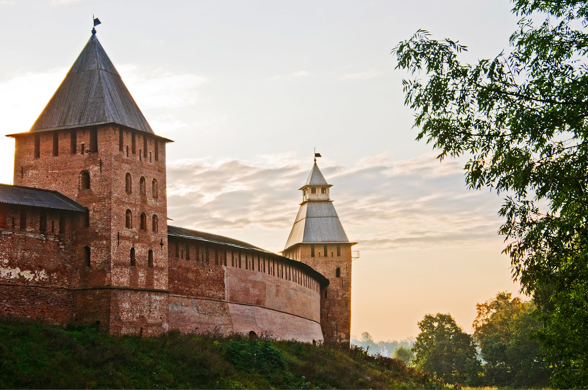 Walls and tower of the Kremlin, which was rebuilt with bricks during the 14th century. Veliky Novgorod, Russia.