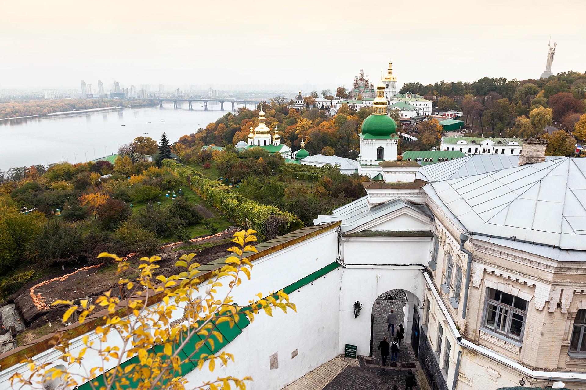 Kiev Pechersk Lavra and the Dnieper River.