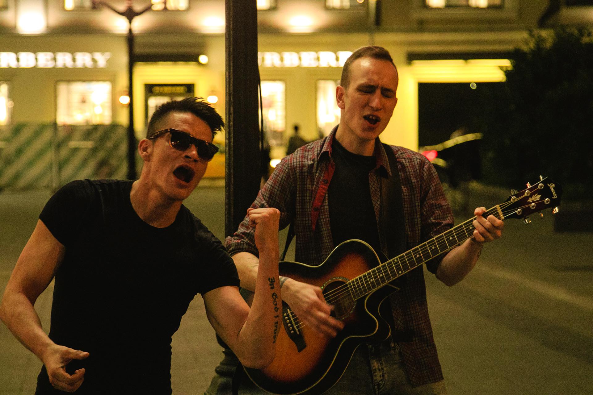 Street musician Sasha, Moscow