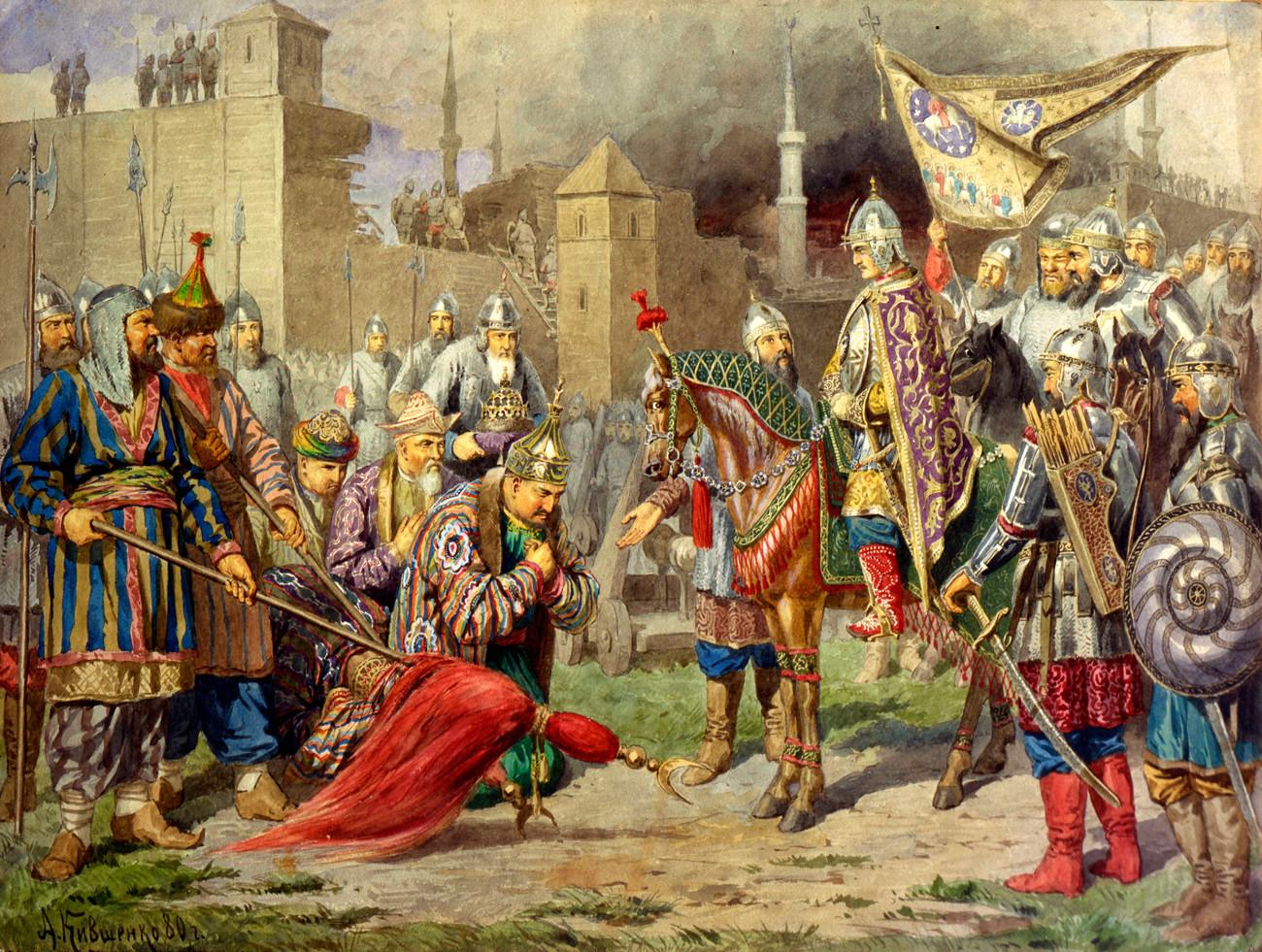 Zar Iwan IV. erobert 1552 das tatarische Chanat Kasan. Gemälde von Alexej Kiwschenko aus dem Jahr 1880.