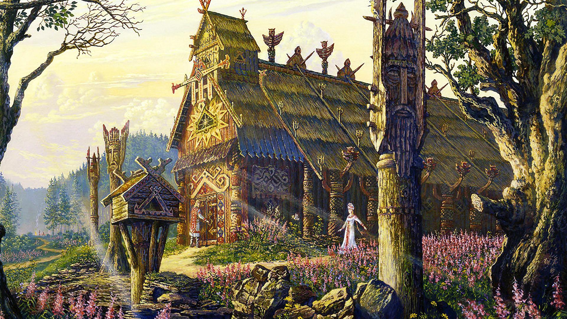 Kuil Dewa Musim Panas Radegast. Lukisan oleh V. B. Ivanov (*1950). Cat minyak pada kanvas.