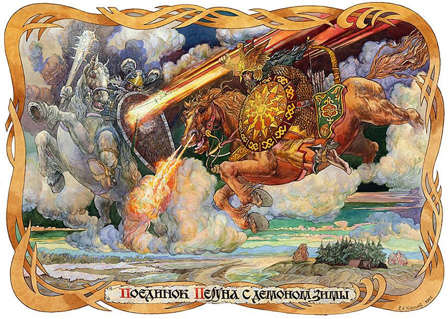 Perun dalam Lukisan Pertarungan Perun Melawan Iblis Musim Dingin karya Viktor Anatolevich Korolkov. Cat minyak pada kanvas.