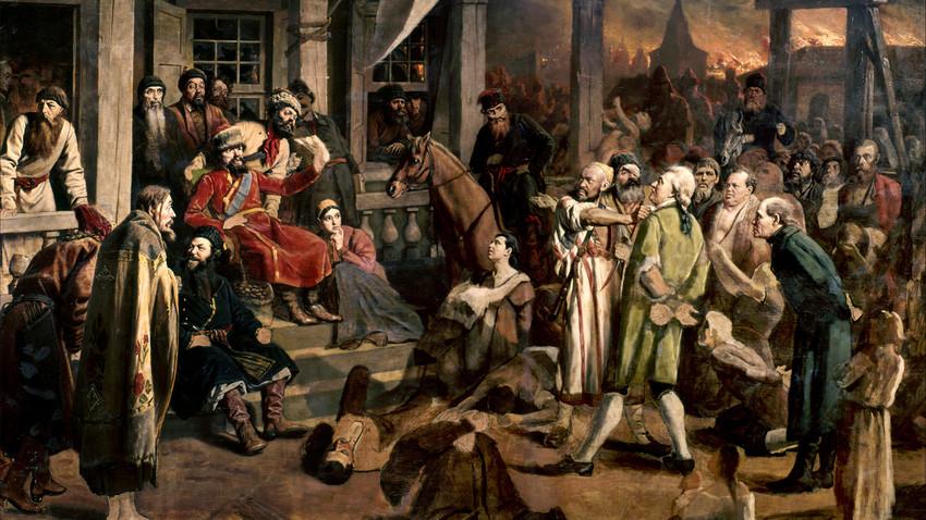 """Василий Перов, """"Присъдата на Пугачов"""", масло на платно, 1878, Държавният исторически музей, Москва."""