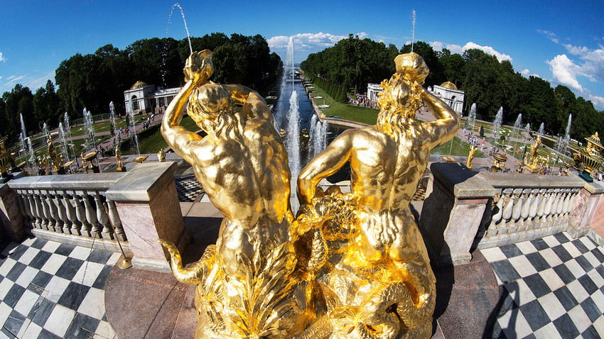 Golden statues and fountains in Peterhof Park Petrodvorets, St. Petersburg