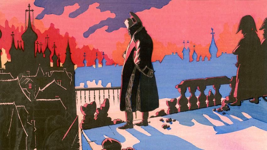 1812年9月15~16日、モスクワが燃えるのを見ているナポレオン。