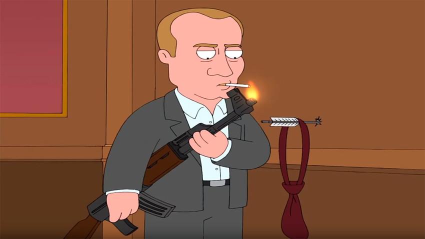 Em Family Guy, Stewie imagina como seria viver na Sibéria, onde se vê bebendo leite de loba.