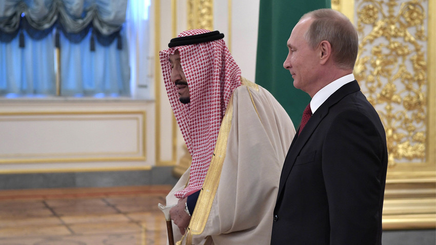 King Salman bin Abdulaziz Al Saud (L) of Saudi Arabia and Russia's President Vladimir Putin meet at the Moscow Kremlin