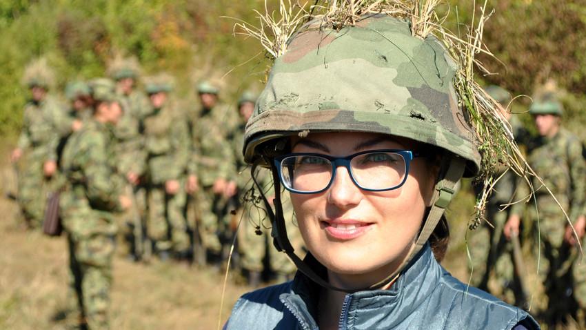 Катарина Лане у војном кампу Другог центра за обуку г. Ваљево