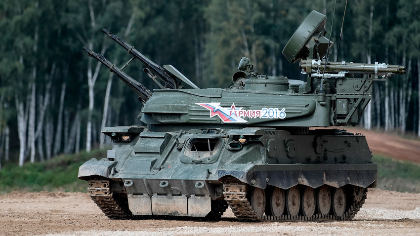"A ZSU-23-4 ""Shilka"" during a military machine demonstration at the Alabino training ground held as part of the international military-technical forum ARMY-2016."