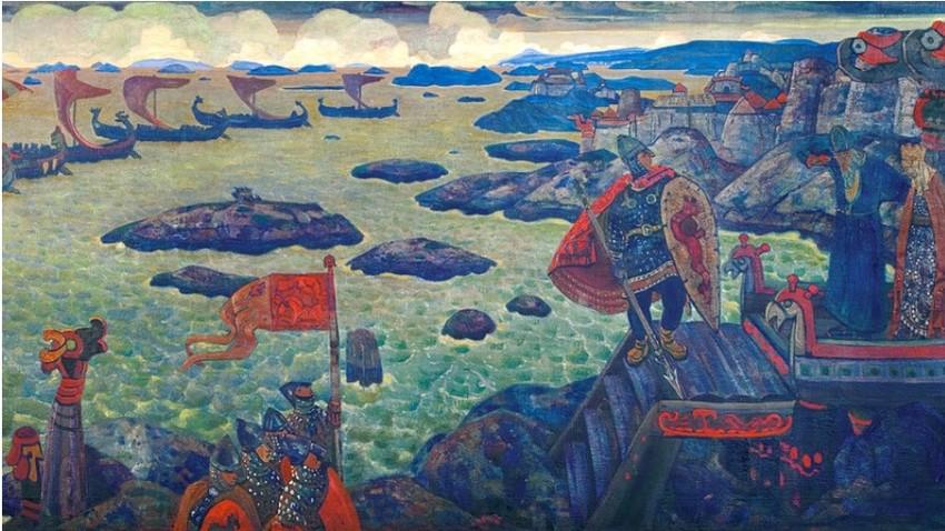 Pripravljeni na vojaški pohod (Varjaško morje), Nicholas Roerich.