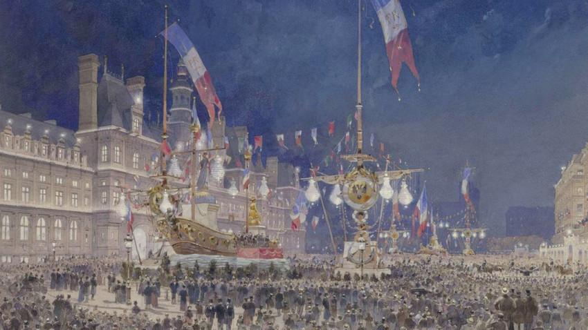 L'arrivée de la flotte russe illustrée par Theodor Josef Hubert Hoffbauer.