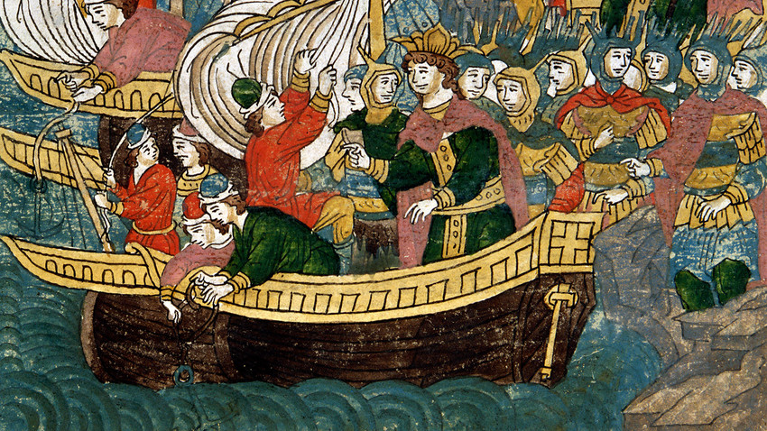 The first Russian fleet. Miniature from the Russian manuscript of the XVI century. The Illuminated Chronicles of Ivan the Terrible (Litsevoi svod). State Historical Museum, Moscow.