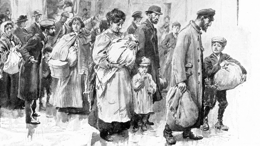 A drawing of deported Jewish people in the beginning of the 20th century. Jews suffered a lot throughout the revolution of 1917 and the Civil war