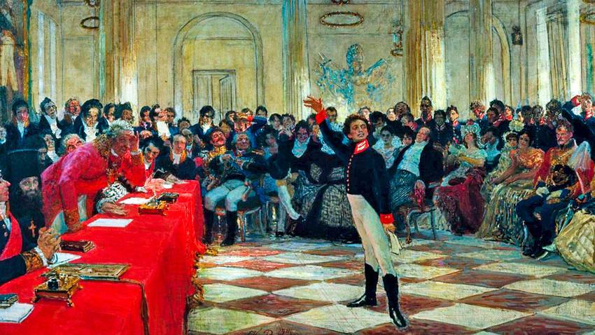 """""""Púchkin recita poema diante de Gavrila Derjavin durante avaliação no Liceu de Tsárskoie Selô em 8 de janeiro de 1815"""", de Iliá Répin."""